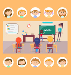 english grammar lesson school subject teacher vector image