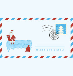 envelope with image of santa claus and gift bag vector image
