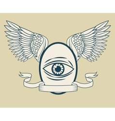 Eye with wings tattoo art design vector