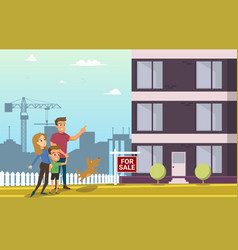 family buy real estate house cartoon characters vector image
