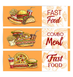 fast food drinks meals banners takeaway fastfood vector image