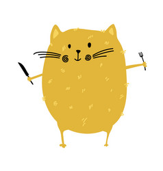 Fat cat with fork and knife in his hands for food vector