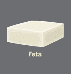 Feta cheese block chunk cartoon flat style vector
