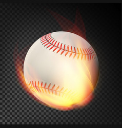 Flaming realistic baseball ball on fire flying vector