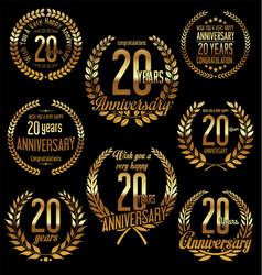 Golden laurel wreath anniversary collection 20 vector