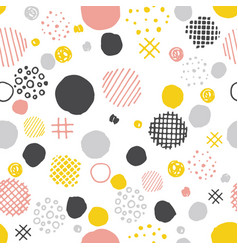 Hand drawn seamless pattern with circles dots vector