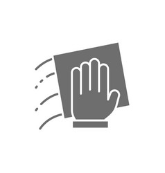 Hand with a rag cleaning grey icon vector