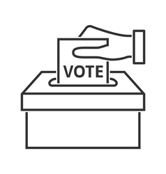 Hand with voting paper line icon vector image