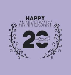 Happy anniversary number twenty with wreath crown vector
