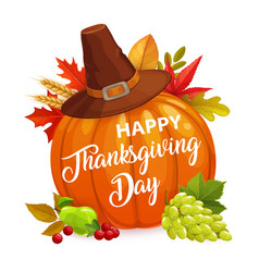 Happy thanksgiving day poster with pumpkin vector