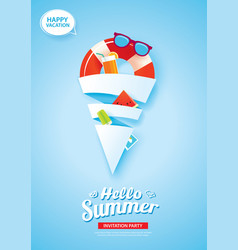 Hello summer card banner with ice cream cone vector