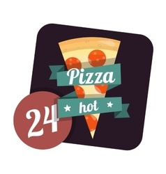 Icon hot pizza 24 hours around the clock Fast vector
