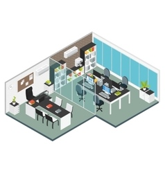 Isometric interior office workplace vector