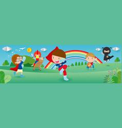 Kid superheroes wearing comics costumes vector