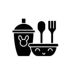 Kids dinnerware black glyph icon vector