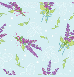 Lavender bouquets blue seamless pattern vector