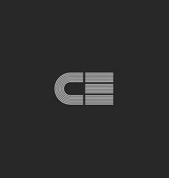 Letters ce or ec logo hipster wedding invitation vector
