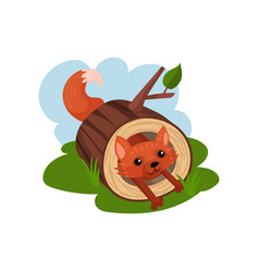 Little fox sitting inside felled tree vector