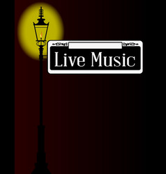 Live music sign with lamp vector