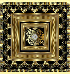 Luxury gold 3d geometric greek key panel pattern vector