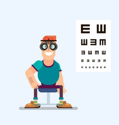 man checks his vision with glasses vector image