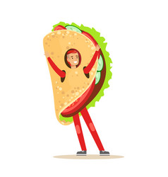 man wearing mexican fajitas costume fast food vector image