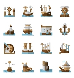 Maritime flat color icons vector