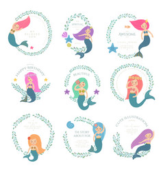 mermaids with wrealth and text vector image