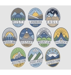 Mountain badges linear 2color vector