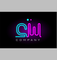 neon lights alphabet cw c w letter logo icon vector image
