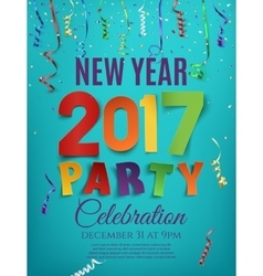 New Year 2017 party poster template with ribbons vector image