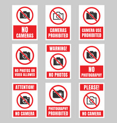 no photo sign photography prohibited signboard vector image
