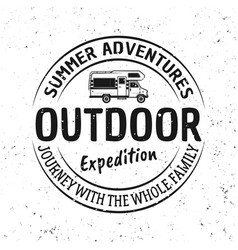 outdoor adventure and travel vintage emblem vector image