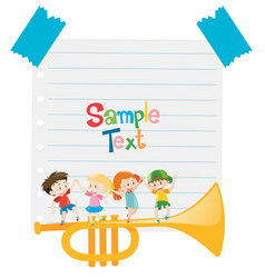 paper template with kids and trumpet vector image