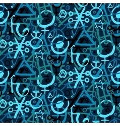 Pattern with alchemy symbols vector
