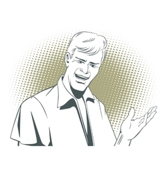 People in retro style Man makes inviting gesture vector