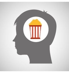 pop corn silhouette head think movie vector image