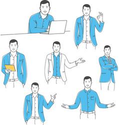 Positive manager outline set vector