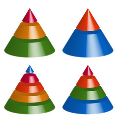 pyramid cone charts 3-2-5-4 levels multilevel vector image