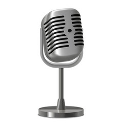 realistic detailed vintage metal studio microphone vector image