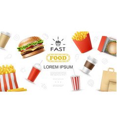 realistic fast food elements concept vector image