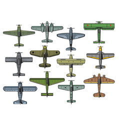 retro military airplanes isolated set vector image
