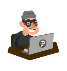 Robber hacker with laptop computer vector
