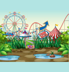 scene background design with circus rides vector image