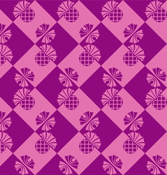 seamless checkered background with flowers thistle vector image