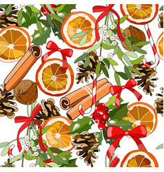 seamless festive pattern with cinnamon stick vector image