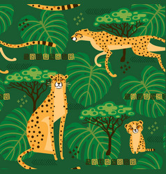 seamless pattern with cheetahs leopards vector image