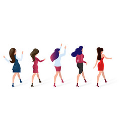 set group women go shopping vector image