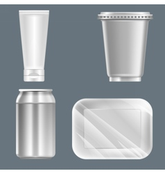 Set of silver plastic can with beverage can vector