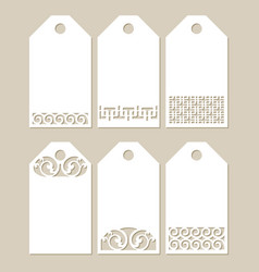 set stencil labels with carved pattern vector image